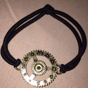 Jewelry - Steampunk Black Cord Stretch Bracelet Gothic
